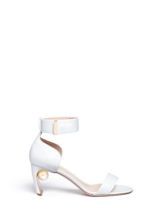 Main View - Click To Enlarge - Nicholas Kirkwood - Faux pearl heel ankle strap leather sandals
