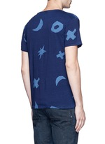 Symbol print indigo dye T-shirt