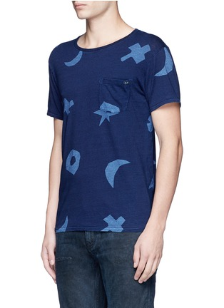 Front View - Click To Enlarge - Scotch & Soda - Symbol print indigo dye T-shirt