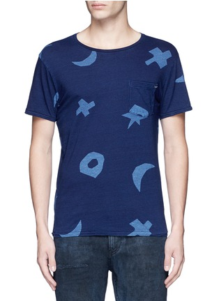 Main View - Click To Enlarge - Scotch & Soda - Symbol print indigo dye T-shirt