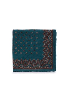 Canali Floral cathedral print wool pocket square