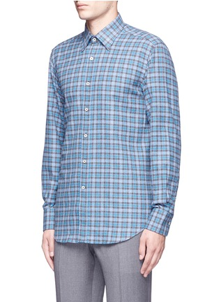 Front View - Click To Enlarge - Canali - Check cotton flannel shirt