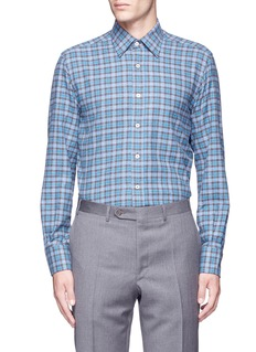 Canali Check cotton flannel shirt