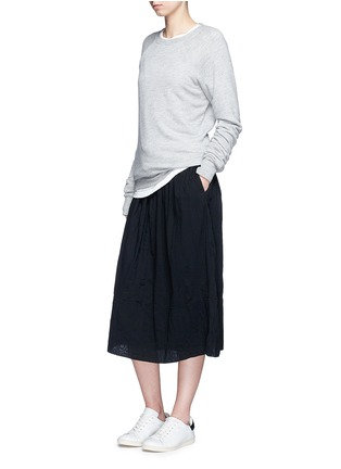 Figure View - Click To Enlarge - James Perse - Puckered drawstring cotton gauze skirt