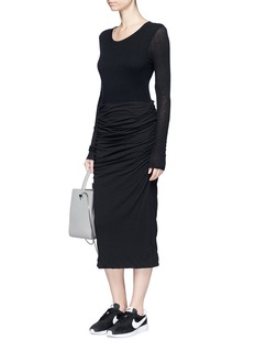 James Perse Shirred cotton jersey tube skirt