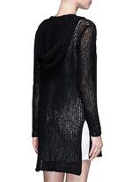 Cotton-linen high gauge knit hood cardigan