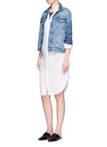 Dolman sleeve linen shirt dress