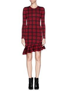 TORN BY RONNY KOBO'Abir' asymmetric hem check dress