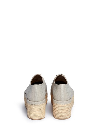 Back View - Click To Enlarge - Stuart Weitzman - 'Kent' raffia platform linen Oxfords