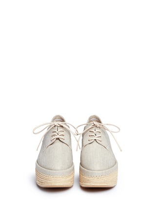 Front View - Click To Enlarge - Stuart Weitzman - 'Kent' raffia platform linen Oxfords
