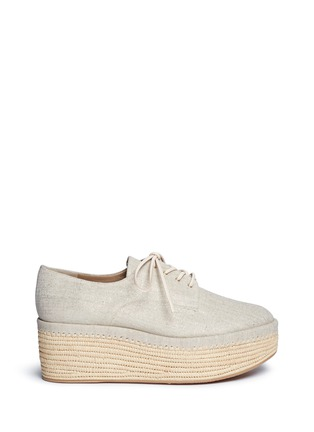 Main View - Click To Enlarge - Stuart Weitzman - 'Kent' raffia platform linen Oxfords
