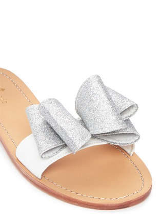 Detail View - Click To Enlarge - Kate Spade - 'Cicely' glitter bow leather slide sandals