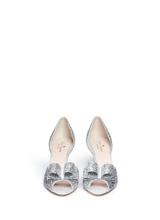Front View - Click To Enlarge - Kate Spade - 'Sela' bow glitter peep toe pumps
