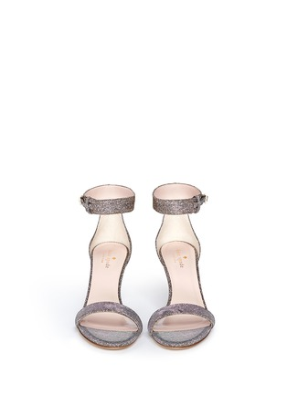 Front View - Click To Enlarge - Kate Spade - 'Elsa' metallic glitter lamé sandals