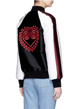 Back View - Click To Enlarge - Stella McCartney - Swirl heart embroidery duchesse satin bomber jacket