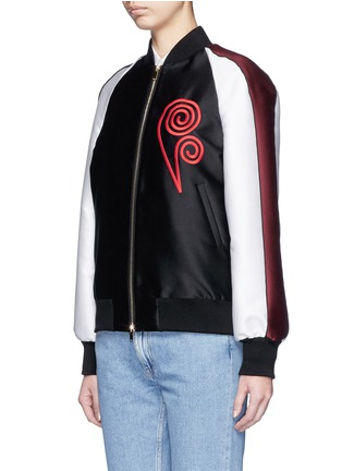 Front View - Click To Enlarge - Stella McCartney - Swirl heart embroidery duchesse satin bomber jacket