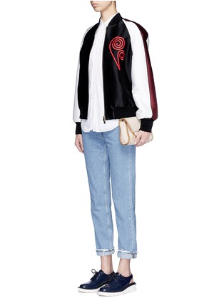 Figure View - Click To Enlarge - Stella McCartney - Swirl heart embroidery duchesse satin bomber jacket