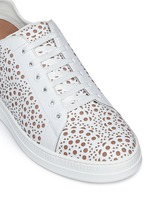 Geometric lasercut leather sneakers