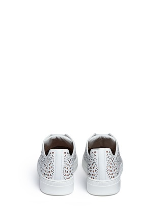 Back View - Click To Enlarge - Alaïa - Geometric lasercut leather sneakers