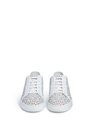 Front View - Click To Enlarge - Alaïa - Geometric lasercut leather sneakers