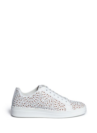 Main View - Click To Enlarge - Alaïa - Geometric lasercut leather sneakers