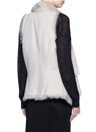 Back View - Click To Enlarge - KARL DONOGHUE - Reversible mesh embossed lambskin shearling drape gilet