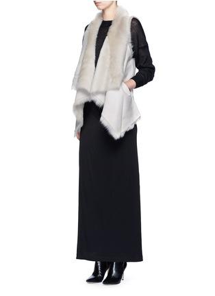 Figure View - Click To Enlarge - KARL DONOGHUE - Reversible mesh embossed lambskin shearling drape gilet