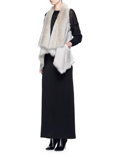 KARL DONOGHUEReversible mesh embossed lambskin shearling drape gilet