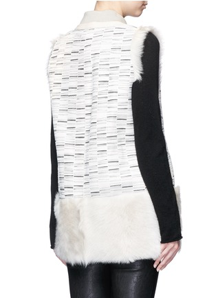 Back View - Click To Enlarge - KARL DONOGHUE - Reversible stripe print lambskin shearling gilet