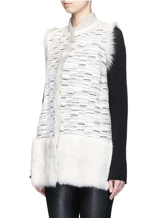 Front View - Click To Enlarge - KARL DONOGHUE - Reversible stripe print lambskin shearling gilet