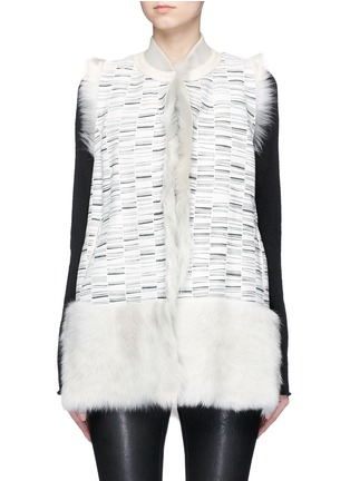 Main View - Click To Enlarge - KARL DONOGHUE - Reversible stripe print lambskin shearling gilet