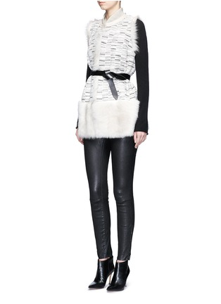 Figure View - Click To Enlarge - KARL DONOGHUE - Reversible stripe print lambskin shearling gilet