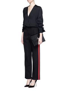 ALEXANDER MCQUEENRibbon trim raw edge wool-silk pants