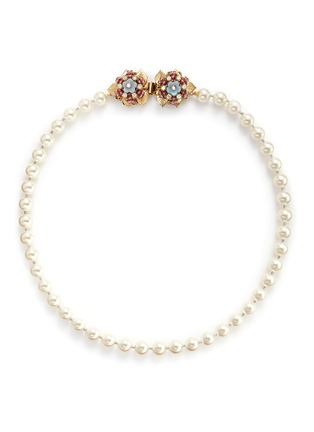 Main View - Click To Enlarge - Miriam Haskell - Crystal floral clasp glass pearl necklace