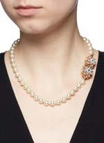 Crystal floral clasp glass pearl necklace