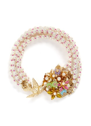 Main View - Click To Enlarge - Miriam Haskell - Bird bouquet multi strand glass pearl bracelet