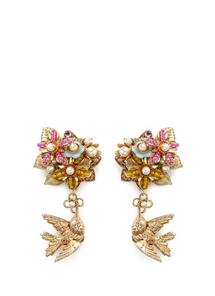 Main View - Click To Enlarge - Miriam Haskell - Bird charm floral beaded bouquet earrings
