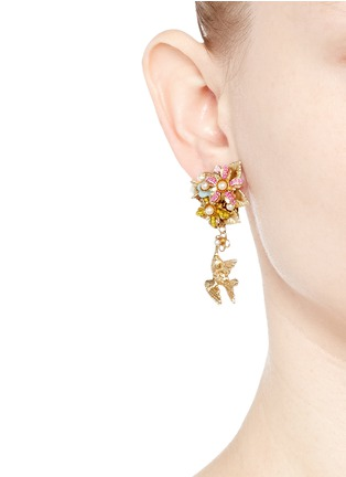 Figure View - Click To Enlarge - Miriam Haskell - Bird charm floral beaded bouquet earrings