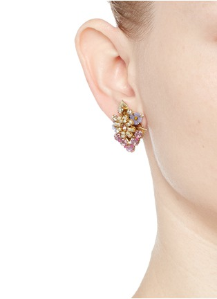 Figure View - Click To Enlarge - Miriam Haskell - Crystal glass pearl beaded bouquet earrings