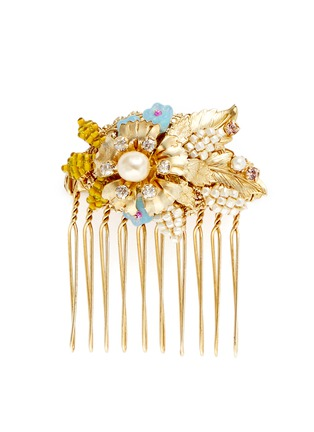 Main View - Click To Enlarge - Miriam Haskell - Swarovski crystal glass pearl bouquet hair comb
