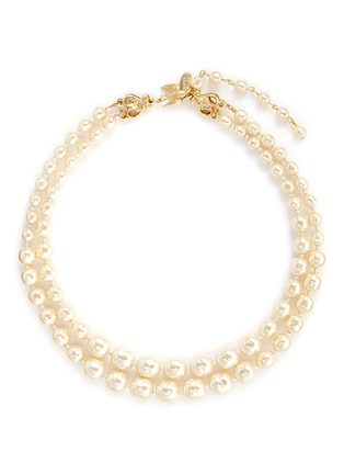 Miriam Haskell-Bird clasp two strand Baroque pearl choker necklace