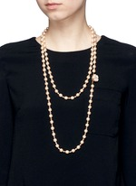 Baroque glass pearl crystal strand necklace