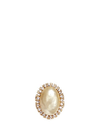 Miriam Haskell - Baroque glass pearl crystal oval filigree ring