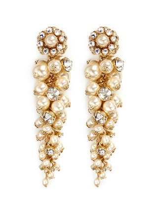 Main View - Click To Enlarge - Miriam Haskell - Crystal glass pearl drop earrings