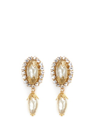 Main View - Click To Enlarge - Miriam Haskell - Swarovski crystal glass pearl drop earrings