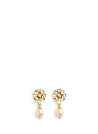 Miriam Haskell - Crystal glass pearl drop floral earrings