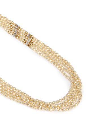 Detail View - Click To Enlarge - Miriam Haskell - Swarovski crystal Baroque pearl multi strand necklace