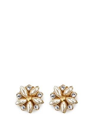 Miriam Haskell - Crystal glass pearl floral stud earrings
