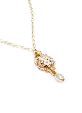 Detail View - Click To Enlarge - Miriam Haskell - Swarovski crystal glass pearl pendant necklace