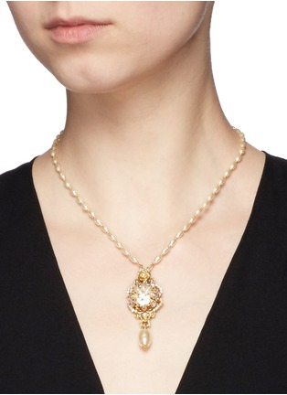 Miriam Haskell - Swarovski crystal glass pearl pendant necklace